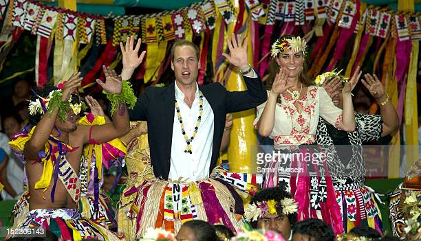 Catherine Duchess of Cambridge and Prince William Duke of Cambridge dance with local ladies at a Vaiku Falekaupule Ceremony during the Royal couple's...