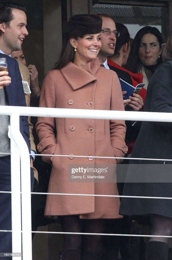 Catherine, Duchess of Cambridge and <a gi-track='captionPersonalityLinkClicked' href=/galleries/search?phrase=Prince+William&family=editorial&specificpeople=178205 ng-click='$event.stopPropagation()'>Prince William</a>, Duke of Cambridge (R) watch the races on day 4 of the Cheltenham Festival at Cheltenham Racecourse on March 15, 2013 in Cheltenham, England.