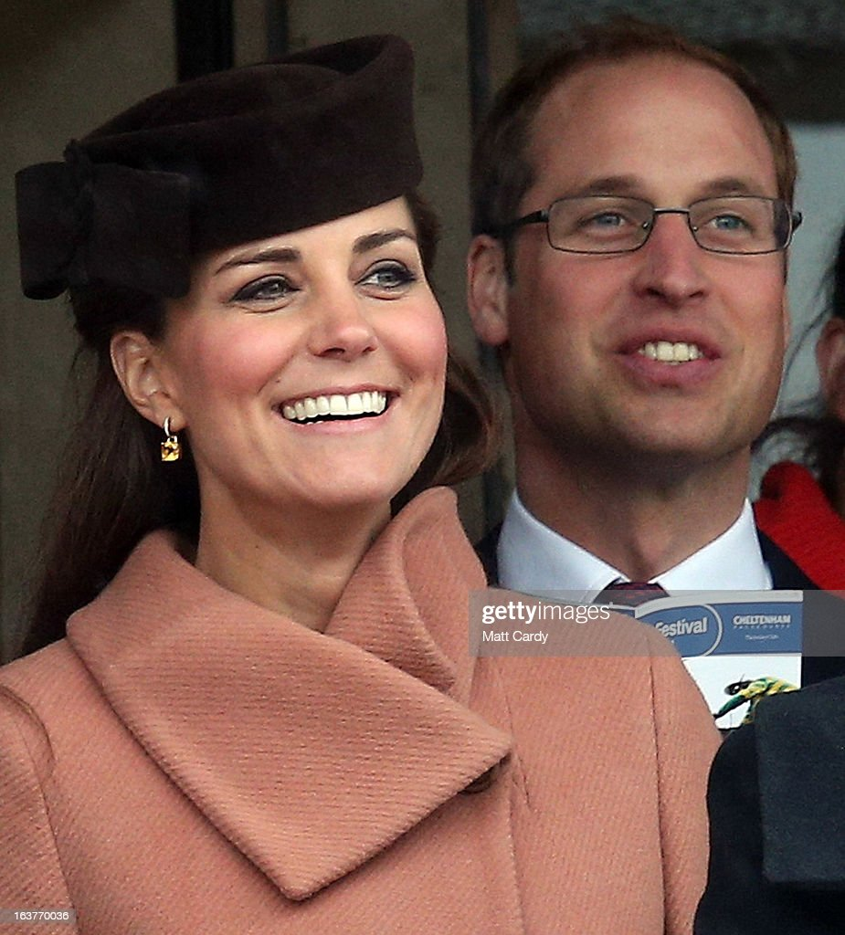 <a gi-track='captionPersonalityLinkClicked' href=/galleries/search?phrase=Catherine+-+Duchess+of+Cambridge&family=editorial&specificpeople=542588 ng-click='$event.stopPropagation()'>Catherine</a>, Duchess of Cambridge and <a gi-track='captionPersonalityLinkClicked' href=/galleries/search?phrase=Prince+William&family=editorial&specificpeople=178205 ng-click='$event.stopPropagation()'>Prince William</a>, Duke of Cambridge watch the races on Gold Cup Day at Cheltenham Racecourse on the fourth and final day of the Cheltenham Festival 2013 on March 15, 2013 in Cheltenham, England. Approximately 200,000 racing enthusiasts are expected at the four-day festival, which ends today and is seen as many as the highlight of the jump racing calendar.