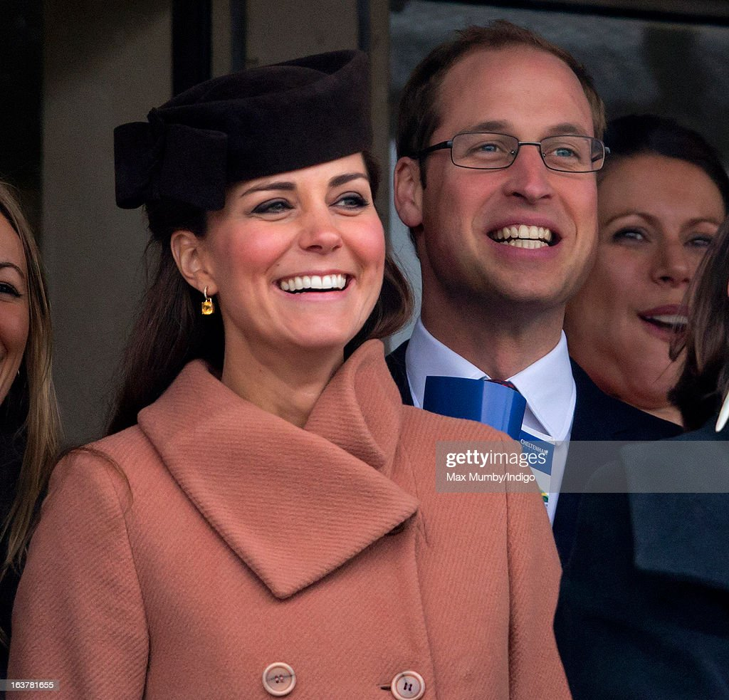 Catherine, Duchess of Cambridge and Prince William, Duke of Cambridge watch the racing as they attend Day 4 of The Cheltenham Festival at Cheltenham Racecourse on March 15, 2013 in London, England.