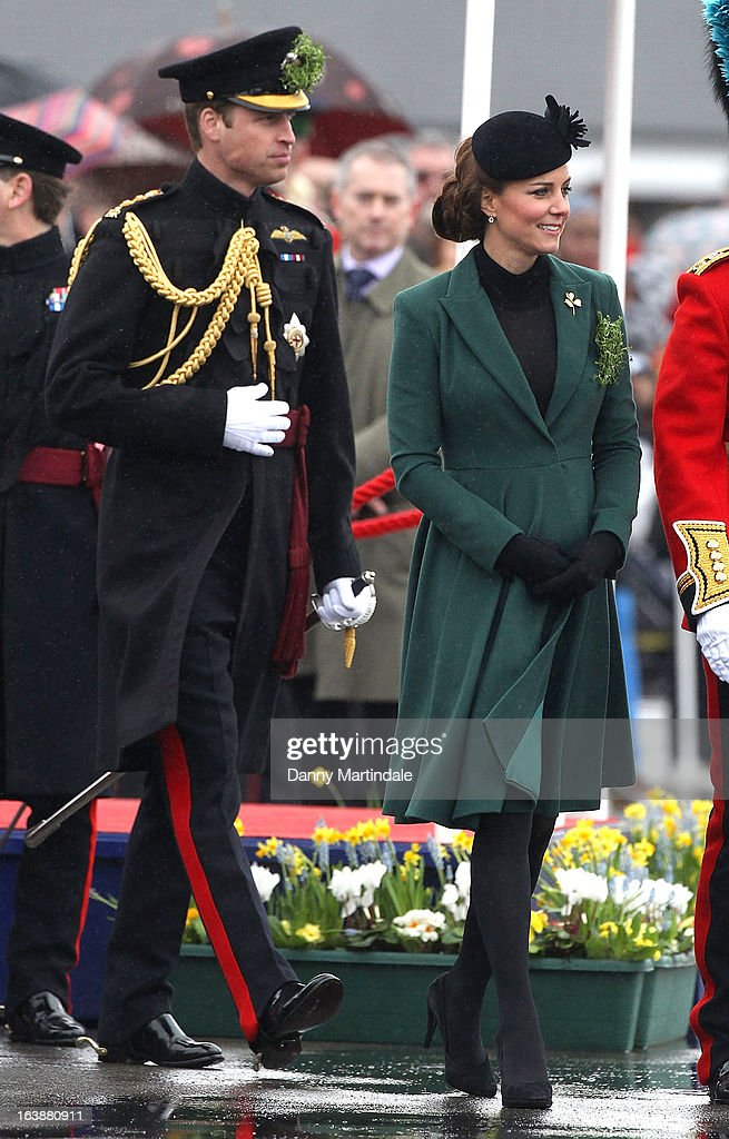 Catherine, Duchess of Cambridge and <a gi-track='captionPersonalityLinkClicked' href=/galleries/search?phrase=Prince+William&family=editorial&specificpeople=178205 ng-click='$event.stopPropagation()'>Prince William</a>, Duke of Cambridge attend the Irish Guards St Patricks Day Parade on March 17, 2013 in Aldershot, England.