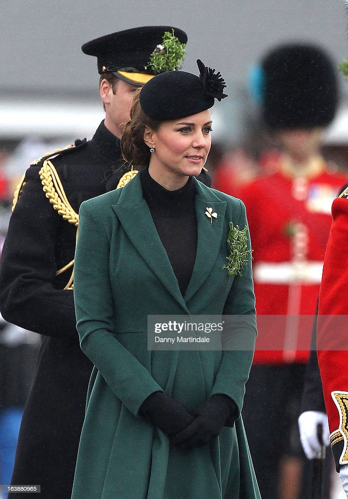 Catherine, Duchess of Cambridge and Prince William, Duke of Cambridge attend the Irish Guards St Patricks Day Parade on March 17, 2013 in Aldershot, England.