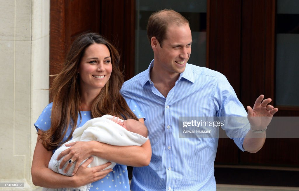 Catherine, Duchess of Cambridge and <a gi-track='captionPersonalityLinkClicked' href=/galleries/search?phrase=Prince+William&family=editorial&specificpeople=178205 ng-click='$event.stopPropagation()'>Prince William</a>, Duke of Cambridge leave the Lindo Wing of St. Mary's hospital with their newborn son on July 23, 2013 in London, England.