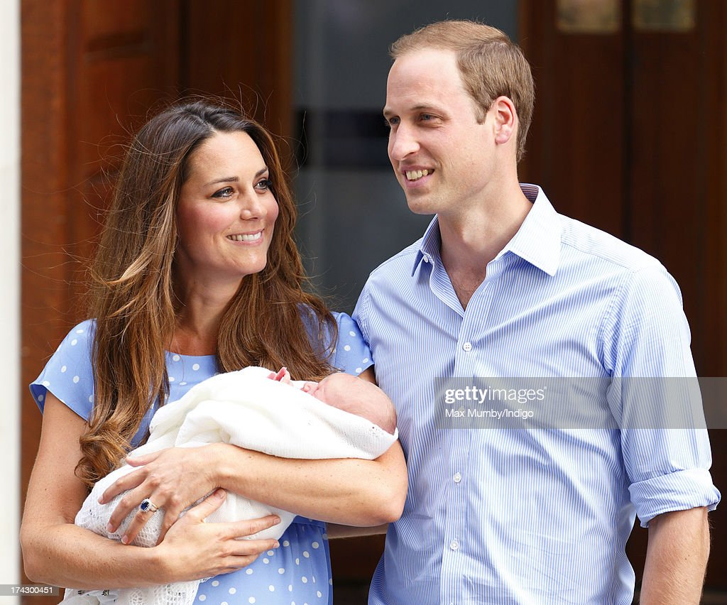 Catherine, Duchess of Cambridge and <a gi-track='captionPersonalityLinkClicked' href=/galleries/search?phrase=Prince+William&family=editorial&specificpeople=178205 ng-click='$event.stopPropagation()'>Prince William</a>, Duke of Cambridge leave The Lindo Wing with their newborn son at St Mary's Hospital on July 23, 2013 in London, England. The Duchess of Cambridge yesterday gave birth to a boy at 16.24 BST and weighing 8lb 6oz, with <a gi-track='captionPersonalityLinkClicked' href=/galleries/search?phrase=Prince+William&family=editorial&specificpeople=178205 ng-click='$event.stopPropagation()'>Prince William</a> at her side. The baby, as yet unnamed, is third in line to the throne and becomes the Prince of Cambridge.