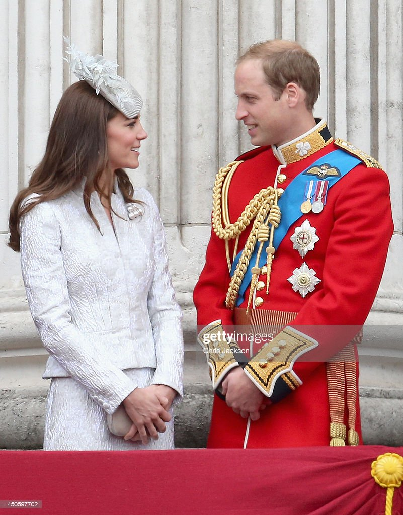 Catherine, Duchess of Cambridge and Prince William, Duke of Cambridge on the balcony during Trooping the Colour - Queen Elizabeth II's Birthday Parade, at The Royal Horseguards on June 14, 2014 in London, England.