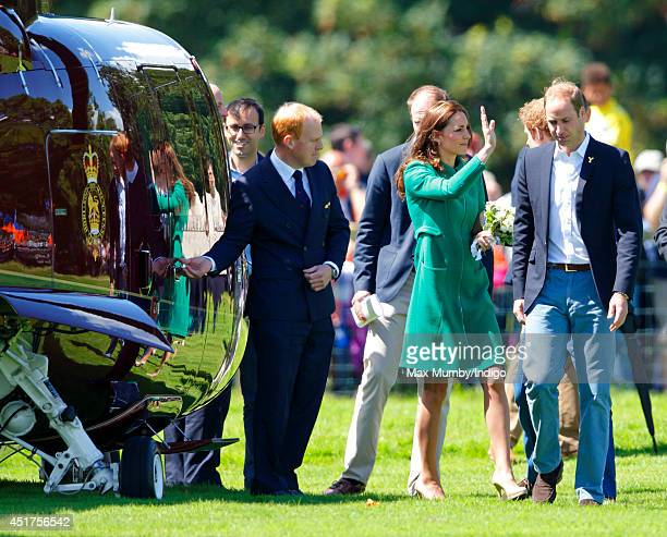 Catherine Duchess of Cambridge and Prince William Duke of Cambridge prepare to board a Sikorsky Helicopter as they leave Harewood House after...