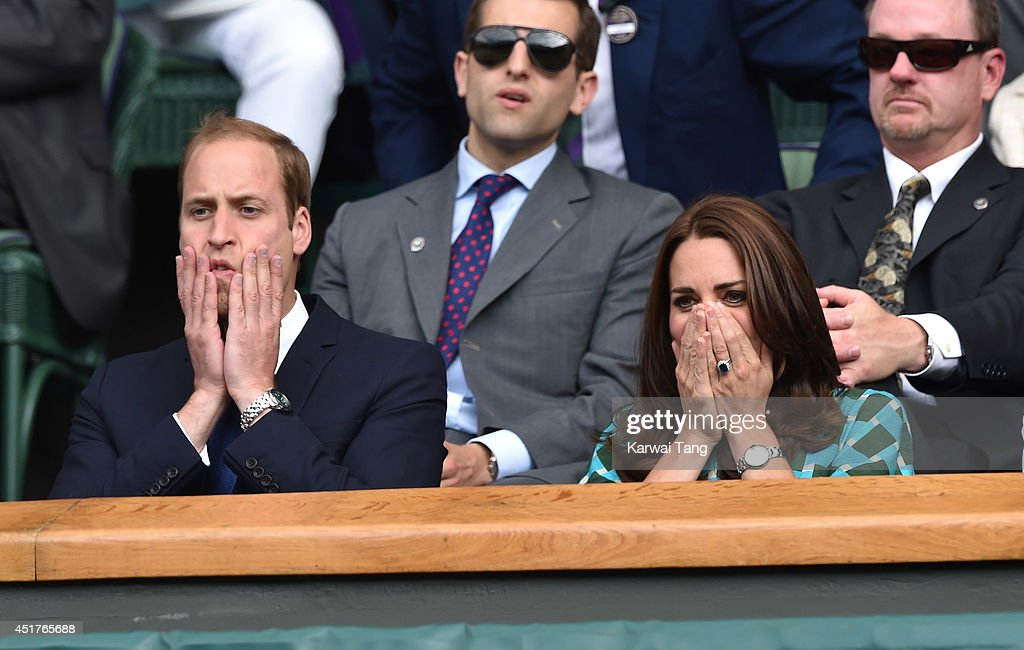 Catherine, Duchess of Cambridge and Prince William, Duke of Cambridge attend the mens singles final between Novak Djokovic and Roger Federer on centre court during day thirteen of the Wimbledon Championships at Wimbledon on July 6, 2014 in London, England.