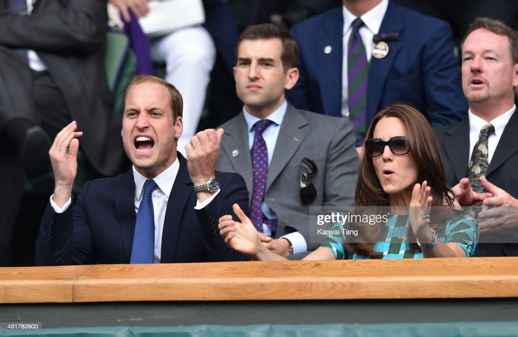 <a gi-track='captionPersonalityLinkClicked' href=/galleries/search?phrase=Catherine+-+Duchess+of+Cambridge&family=editorial&specificpeople=542588 ng-click='$event.stopPropagation()'>Catherine</a>, Duchess of Cambridge and <a gi-track='captionPersonalityLinkClicked' href=/galleries/search?phrase=Prince+William&family=editorial&specificpeople=178205 ng-click='$event.stopPropagation()'>Prince William</a>, Duke of Cambridge attend the mens singles final between Novak Djokovic and Roger Federer on centre court during day thirteen of the Wimbledon Championships at Wimbledon on July 6, 2014 in London, England.