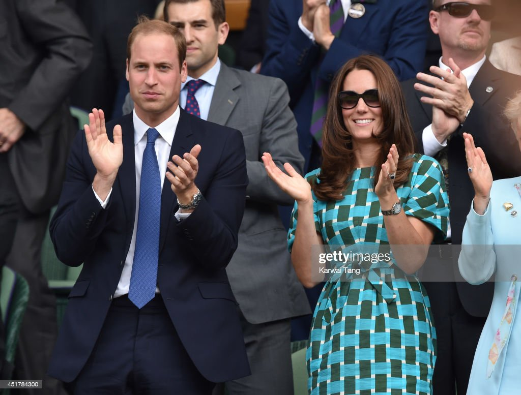 Catherine, Duchess of Cambridge and <a gi-track='captionPersonalityLinkClicked' href=/galleries/search?phrase=Prince+William&family=editorial&specificpeople=178205 ng-click='$event.stopPropagation()'>Prince William</a>, Duke of Cambridge attend the mens singles final between Novak Djokovic and Roger Federer on centre court during day thirteen of the Wimbledon Championships at Wimbledon on July 6, 2014 in London, England.