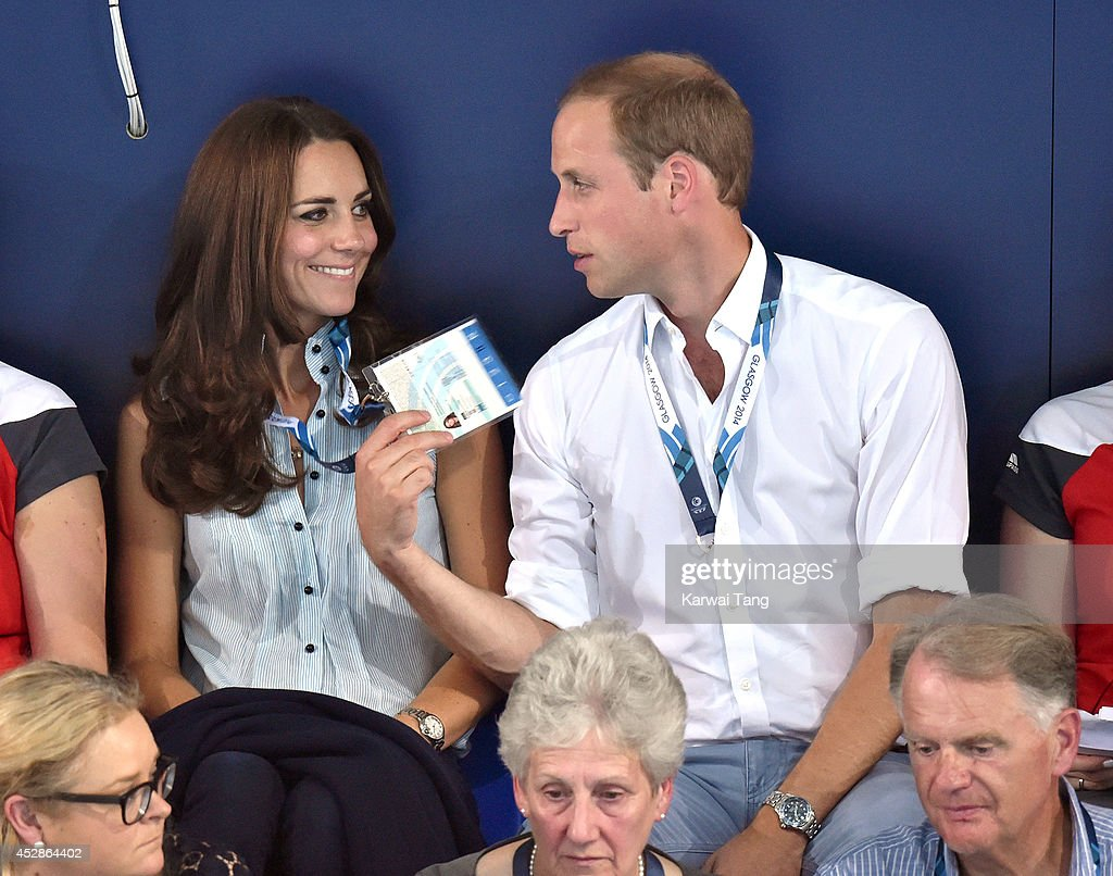 Catherine Duchess of Cambridge and Prince William Duke of Cambridge attend the swimming during the Commonwealth Games on July 28 2014 in Glasgow...