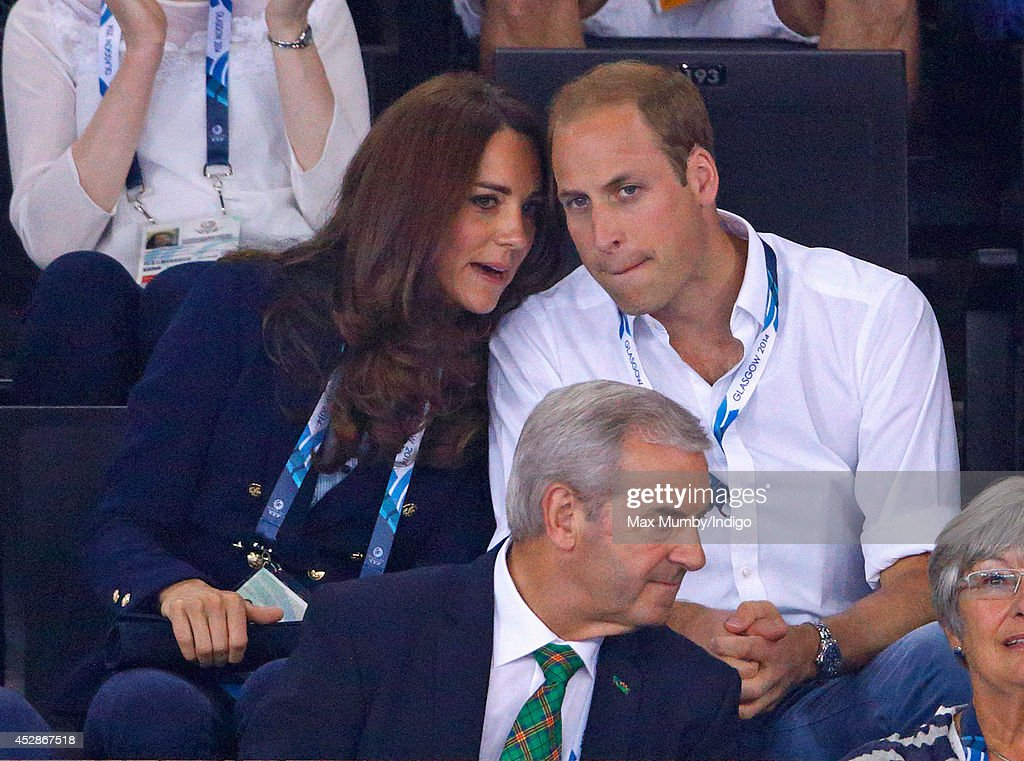 Catherine, Duchess of Cambridge and Prince William, Duke of Cambridge watch the Gymnastics at the SECC Precinct during the 20th Commonwealth Games on July 28, 2014 in Glasgow, Scotland.