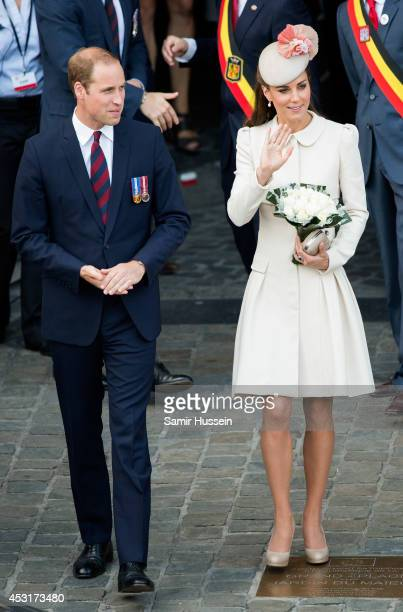 Catherine Duchess of Cambridge and Prince William Duke of Cambridge attend a reception at the Grand Place on August 4 2014 in Mons Belgium Monday 4th...