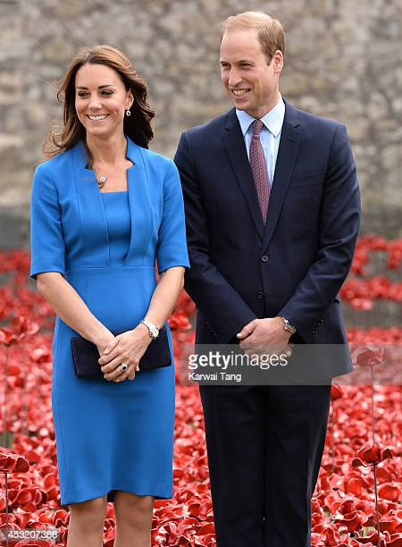Catherine Duchess of Cambridge and Prince William Duke of Cambridge visit the Tower of London's 'Blood Swept Lands and Seas of Red' poppy...