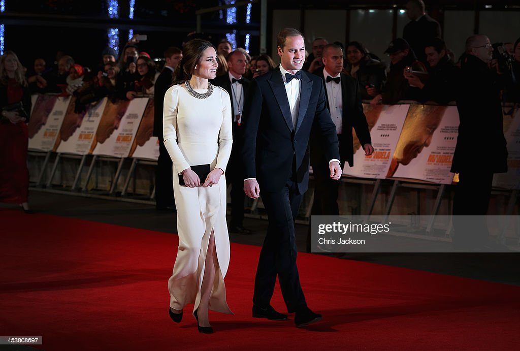 Catherine, Duchess of Cambridge and Prince William, Duke of Cambridge attend the Royal film performance of 'Mandela: Long Walk to Freedom' at Odeon Leicester Square on December 5, 2013 in London, England.