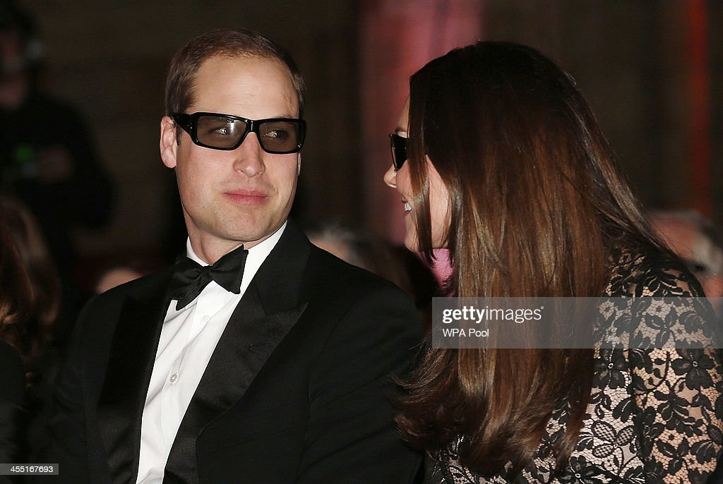 Catherine, Duchess of Cambridge and <a gi-track='captionPersonalityLinkClicked' href=/galleries/search?phrase=Prince+William&family=editorial&specificpeople=178205 ng-click='$event.stopPropagation()'>Prince William</a>, Duke of Cambridge wear 3D glasses before a screening of David Attenborough's Natural History Museum Alive 3D at Natural History Museum on December 11, 2013 in London, England.