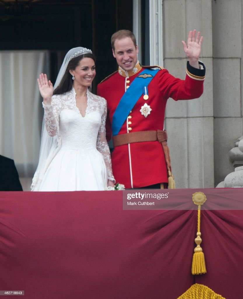 Catherine, Duchess of Cambridge and Prince William, Duke of Cambridge on the balcony at Buckingham Palace, following their wedding at Westminster Abbey on April 29, 2011 in London, England.