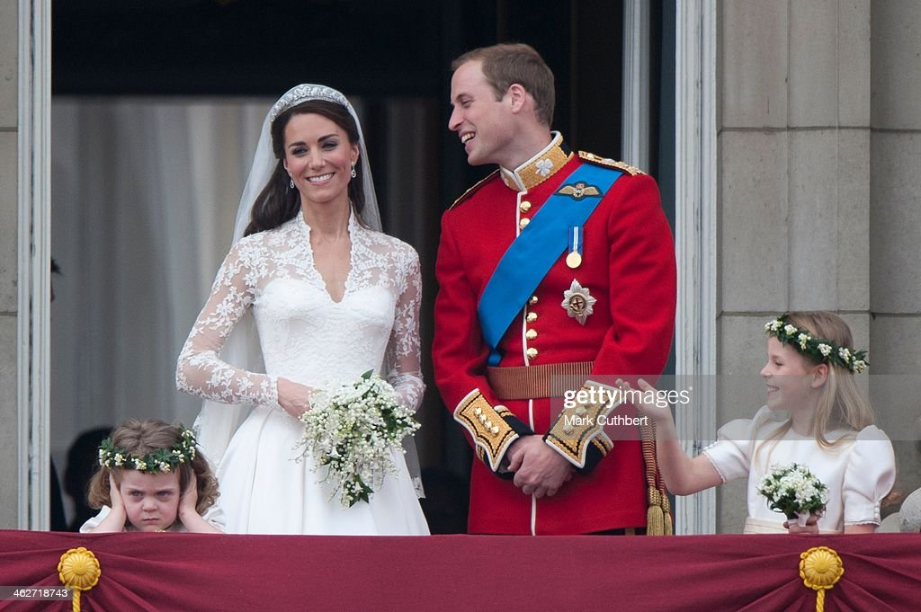 <a gi-track='captionPersonalityLinkClicked' href=/galleries/search?phrase=Catherine+-+Duchess+of+Cambridge&family=editorial&specificpeople=542588 ng-click='$event.stopPropagation()'>Catherine</a>, Duchess of Cambridge and <a gi-track='captionPersonalityLinkClicked' href=/galleries/search?phrase=Prince+William&family=editorial&specificpeople=178205 ng-click='$event.stopPropagation()'>Prince William</a>, Duke of Cambridge on the balcony at Buckingham Palace with Bridesmaids <a gi-track='captionPersonalityLinkClicked' href=/galleries/search?phrase=Margarita+Armstrong-Jones&family=editorial&specificpeople=218192 ng-click='$event.stopPropagation()'>Margarita Armstrong-Jones</a> (Right) And Grace Van Cutsem (Left), following their wedding at Westminster Abbey on April 29, 2011 in London, England.