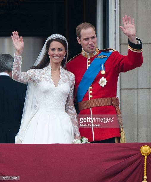 Catherine Duchess of Cambridge and Prince William Duke of Cambridge on the balcony at Buckingham Palace following their wedding at Westminster Abbey...