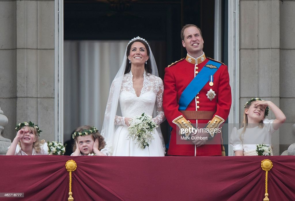Catherine, Duchess of Cambridge and Prince William, Duke of Cambridge on the balcony at Buckingham Palace with Bridesmaids Margarita Armstrong-Jones (Right) And Grace Van Cutsem (Middle) And Lady Louise (Left), following their wedding at Westminster Abbey on April 29, 2011 in London, England.