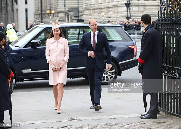 Catherine Duchess of Cambridge and Prince William Duke of Cambridge attend the Observance for Commonwealth Day Service At Westminster Abbey on March...