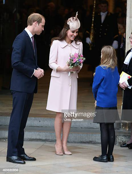 Catherine Duchess of Cambridge and Prince William Duke of Cambridge leave the Observance for Commonwealth Day Service at Westminster Abbey on March 9...