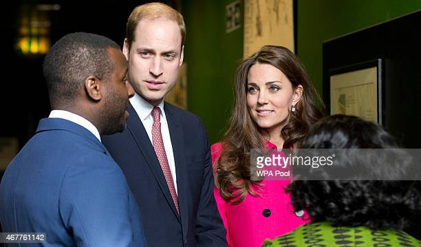 Catherine Duchess of Cambridge and Prince William Duke of Cambridge speak with Stephen Lawrence's brother Stuart and his mother Baroness Doreen...