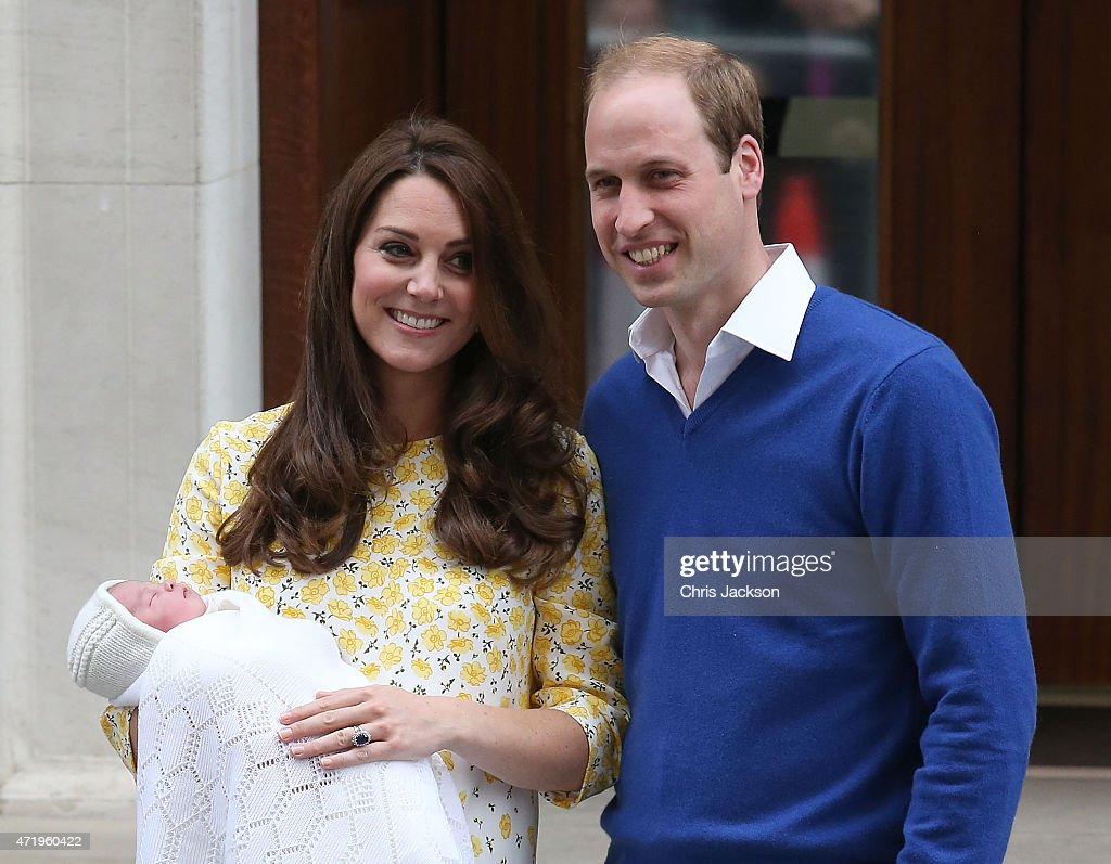 Catherine, Duchess of Cambridge and Prince William, Duke of Cambridge depart the Lindo Wing with their newborn daughter at St Mary's Hospital on May 2, 2015 in London, England. The Duchess was safely delivered of a daughter at 8:34am this morning, weighing 8lbs 3 oz who will be fourth in line to the throne.