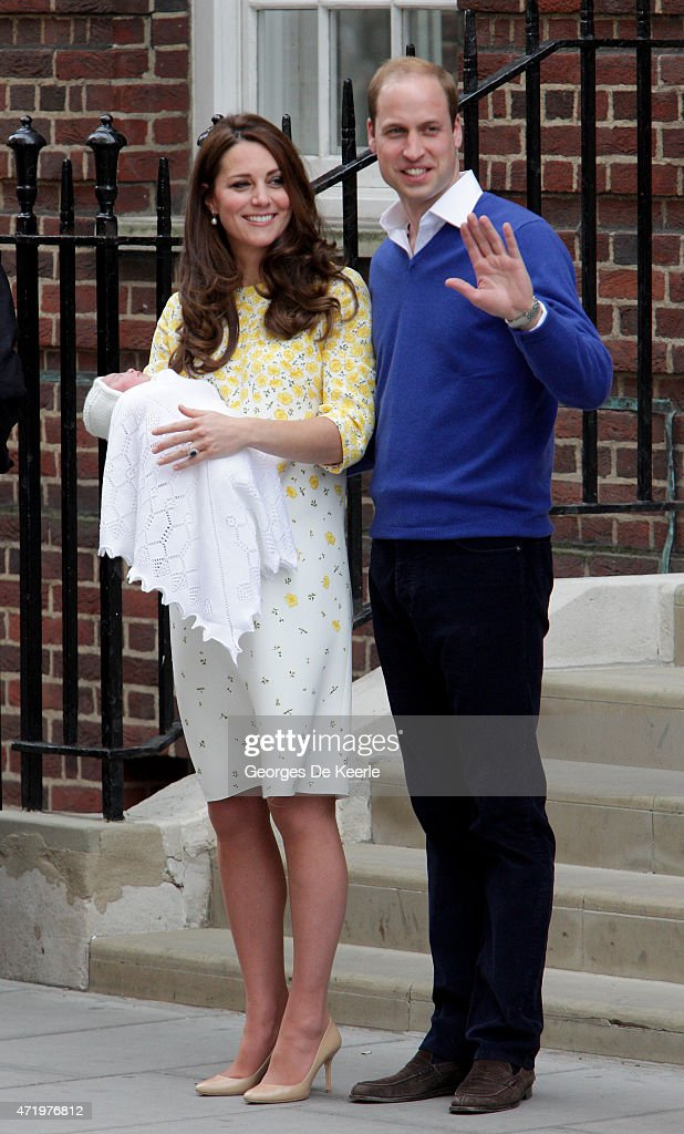 Catherine, Duchess of Cambridge and Prince William, Duke of Cambridge leave The Lindo Wing of St Mary's Hospital with their newborn daughter, Princess Charlotte of Cambridge, on May 2, 2015 in London, England.