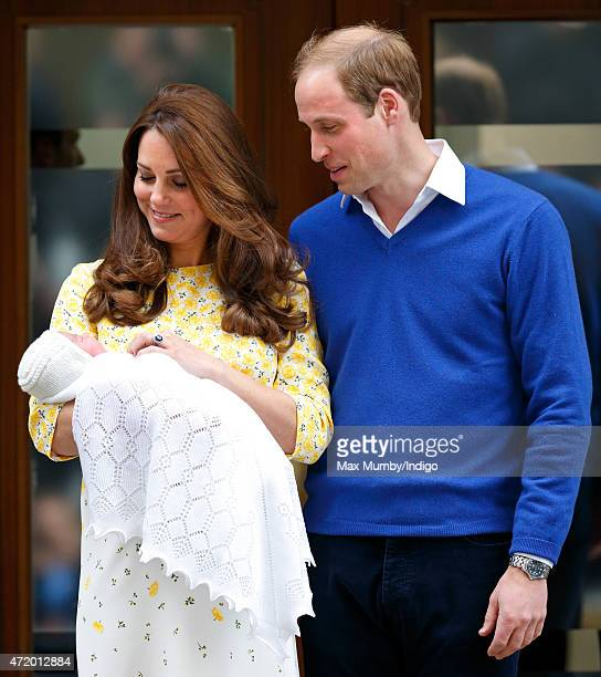 Catherine Duchess of Cambridge and Prince William Duke of Cambridge leave the Lindo Wing with their newborn daughter at St Mary's Hospital on May 2...