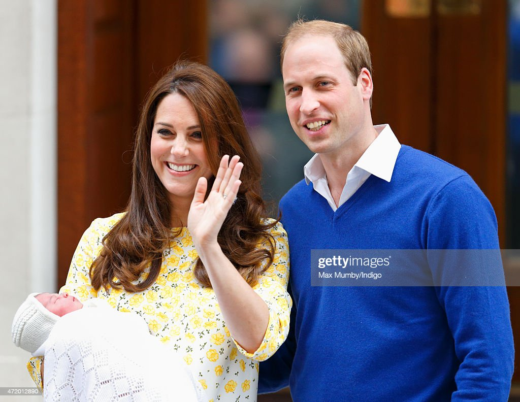 Catherine, Duchess of Cambridge and Prince William, Duke of Cambridge leave the Lindo Wing with their newborn daughter at St Mary's Hospital on May 2, 2015 in London, England. The Duchess safely delivered a daughter at 8:34am this morning, weighing 8lbs 3 oz who will be fourth in line to the throne.