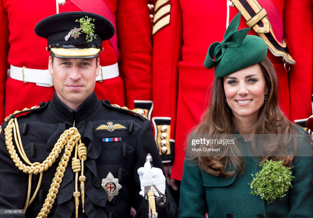 <a gi-track='captionPersonalityLinkClicked' href=/galleries/search?phrase=Catherine+-+Duchess+of+Cambridge&family=editorial&specificpeople=542588 ng-click='$event.stopPropagation()'>Catherine</a>, Duchess of Cambridge and Prince William, Duke of Cambridge attend the St Patrick's Day parade at Mons Barracks on March 17, 2014 in Aldershot, England.