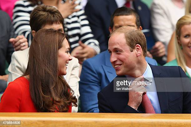 Catherine Duchess of Cambridge and Prince William Duke of Cambridge attend day nine of the Wimbledon Lawn Tennis Championships at the All England...