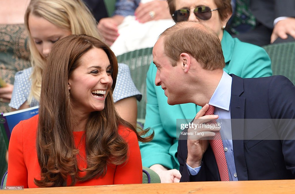 Catherine, Duchess of Cambridge and Prince William, Duke of Cambridge attend day nine of the Wimbledon Tennis Championships at Wimbledon on July 8, 2015 in London, England.