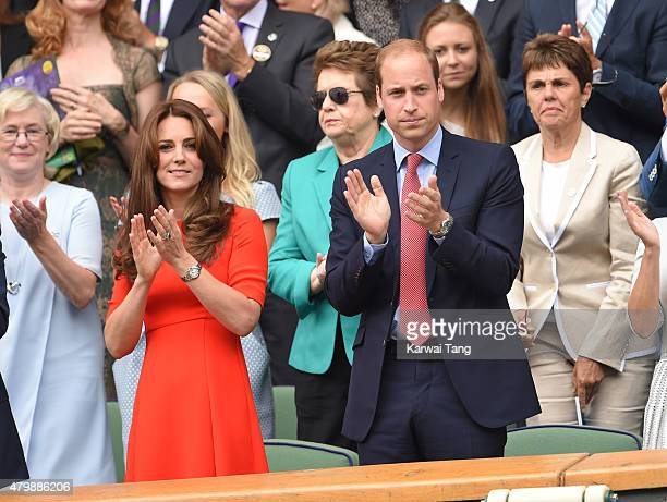 Catherine Duchess of Cambridge and Prince William Duke of Cambridge attend day nine of the Wimbledon Tennis Championships at Wimbledon on July 8 2015...