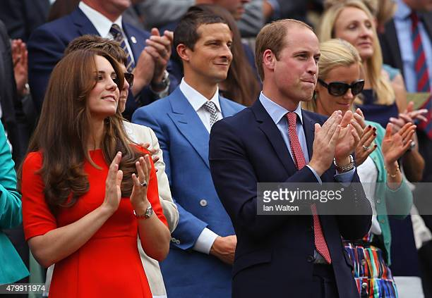 Catherine Duchess of Cambridge and Prince William Duke of Cambridge applaud as Andy Murray of Great Britain wins his Gentlemens Singles Quarter Final...