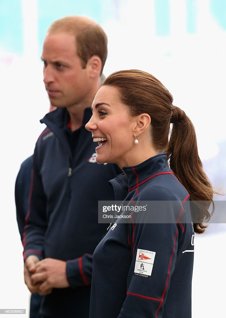 Catherine, Duchess of Cambridge and Prince William, Duke of Cambridge arrive at the Portsmouth Historical Dockyard as she attends the America's Cup World Series event on July 26, 2015 in Portsmouth, England.
