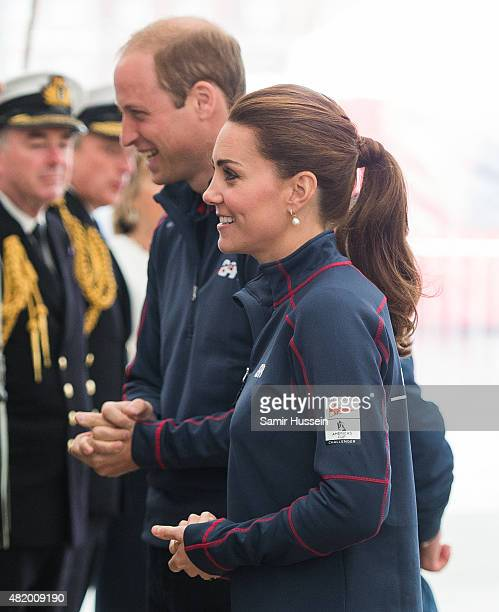 Catherine Duchess of Cambridge and Prince William Duke of Cambridge visit the New Zealand team HQ during their visit to The America's Cup World...