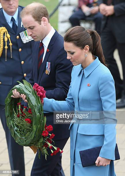 Catherine Duchess of Cambridge and Prince William Duke of Cambridge lay a wreath at Seymour Square during Day 4 of a Royal Tour to New Zealand on...