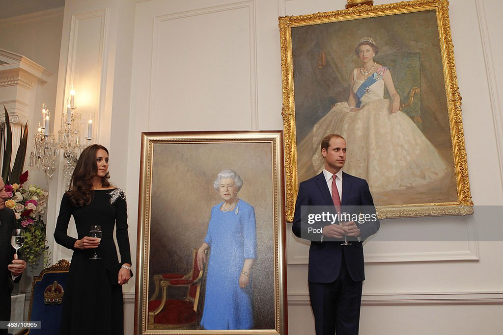 Catherine, Duchess of Cambridge and Prince William, Duke of Cambridge attend a art unveiling during Day 4 of a Royal Tour to New Zealand at Government House on April 10, 2014 in Wellington, New Zealand. The Duke and Duchess of Cambridge are on a three-week tour of Australia and New Zealand, the first official trip overseas with their son, Prince George of Cambridge.