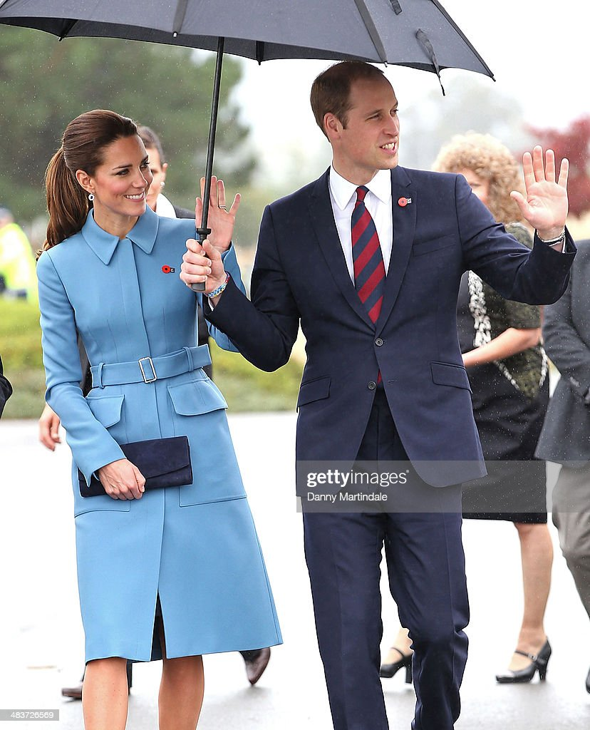 Catherine, Duchess of Cambridge and Prince William, Duke of Cambridge attend the 'Knights of the Sky' exhibition at Omaka Aviation Heritage Centre in Blenheim on April 10, 2014 in Wellington, New Zealand. The Duke and Duchess of Cambridge are on a three-week tour of Australia and New Zealand, the first official trip overseas with their son, Prince George of Cambridge.