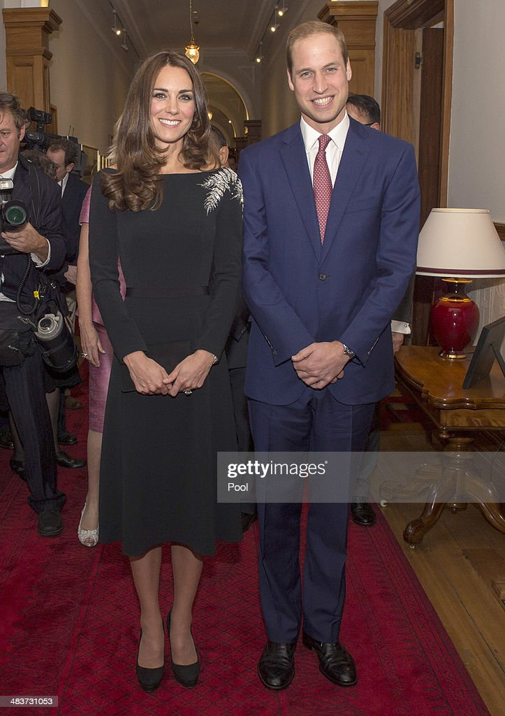 Catherine, Duchess of Cambridge and <a gi-track='captionPersonalityLinkClicked' href=/galleries/search?phrase=Prince+William&family=editorial&specificpeople=178205 ng-click='$event.stopPropagation()'>Prince William</a>, Duke of Cambridge pose for a picture as they attend an art unveiling of a portrait of Queen Elizabeth II by New Zealand artist Nick Cuthell during Day 4 of a Royal Tour to New Zealand at Government House on April 10, 2014 in Wellington, New Zealand. The Duke and Duchess of Cambridge are on a three-week tour of Australia and New Zealand, the first official trip overseas with their son, Prince George of Cambridge.