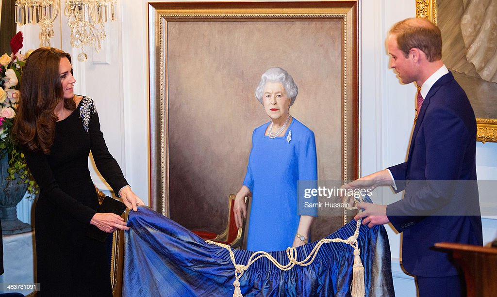 Catherine, Duchess of Cambridge and Prince William, Duke of Cambridge unveil a portrait of Queen Elizabeth II, painted by New Zealand artist Nick Cuthell at a state reception at Government House on April 10, 2014 in Wellington, New Zealand.on April 10, 2014 in Wellington, New Zealand. The Duke and Duchess of Cambridge are on a three-week tour of Australia and New Zealand, the first official trip overseas with their son, Prince George of Cambridge.