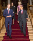 Catherine Duchess of Cambridge and Prince William Duke of Cambridge are seen with Lady Janine Mateparae and New Zealand GovernorGeneral Sir Jerry...