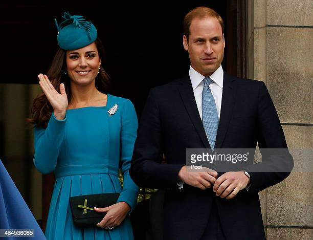 Catherine Duchess of Cambridge and Prince William Duke of Cambridge attend a Palm Sunday service at St Paul's Anglican Cathedral on April 13 2014 in...