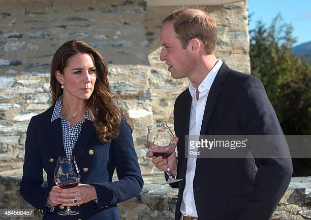 Catherine Duchess of Cambridge and Prince William Duke of Cambridge take part in wine tasting during a visit to the Amisfield Winery on April 13 2014...