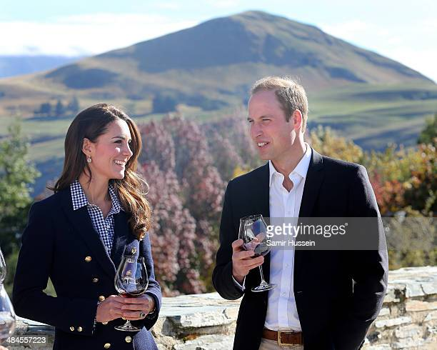Catherine Duchess of Cambridge and Prince William Duke of Cambridge sample red wine as the visit Otago Wines at Amisfield winery on April 13 2014 in...