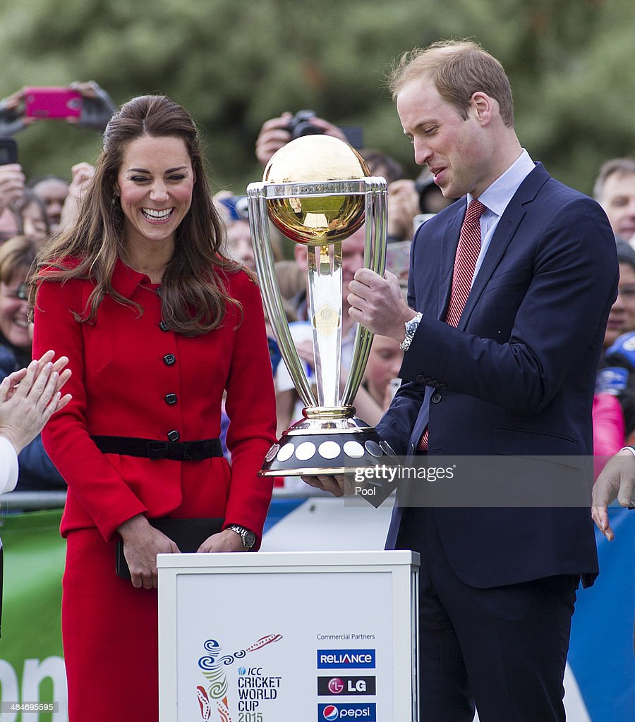 Catherine, Duchess of Cambridge and Prince William Duke of Cambridge with the Cricket World Cup in Latimer Square Gardens on April 14, 2014 in Christchurch, New Zealand. The Duke and Duchess of Cambridge are on a three-week tour of Australia and New Zealand, the first official trip overseas with their son, Prince George of Cambridge.