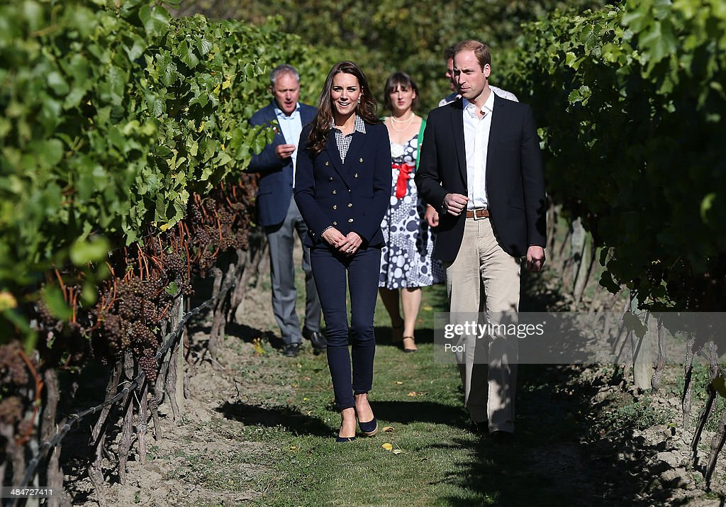 <a gi-track='captionPersonalityLinkClicked' href=/galleries/search?phrase=Catherine+-+Duchess+of+Cambridge&family=editorial&specificpeople=542588 ng-click='$event.stopPropagation()'>Catherine</a> Duchess of Cambridge and <a gi-track='captionPersonalityLinkClicked' href=/galleries/search?phrase=Prince+William&family=editorial&specificpeople=178205 ng-click='$event.stopPropagation()'>Prince William</a>, Duke of Cambridge visit the Amisfield Winery on April 13, 2014 in Queenstown New Zealand. The Duke and Duchess of Cambridge are on a three-week tour of Australia and New Zealand, the first official trip overseas with their son, Prince George of Cambridge.