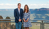 Catherine Duchess of Cambridge and Prince William Duke of Cambridge pose at Echo Point in the Blue Moutains on April 17 2014 in Katoomba Australia...