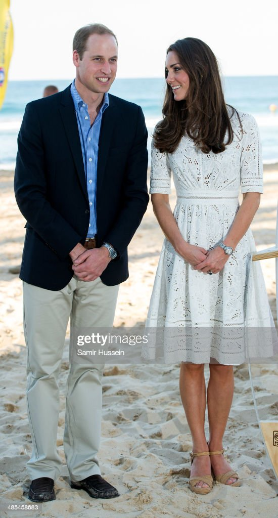 Catherine, Duchess of Cambridge and Prince William, Duke of Cambridge pose as they attend a lifesaving event on Manley Beach on April 18, 2014 in Sydney, Australia. The Duke and Duchess of Cambridge are on a three-week tour of Australia and New Zealand, the first official trip overseas with their son, Prince George of Cambridge.